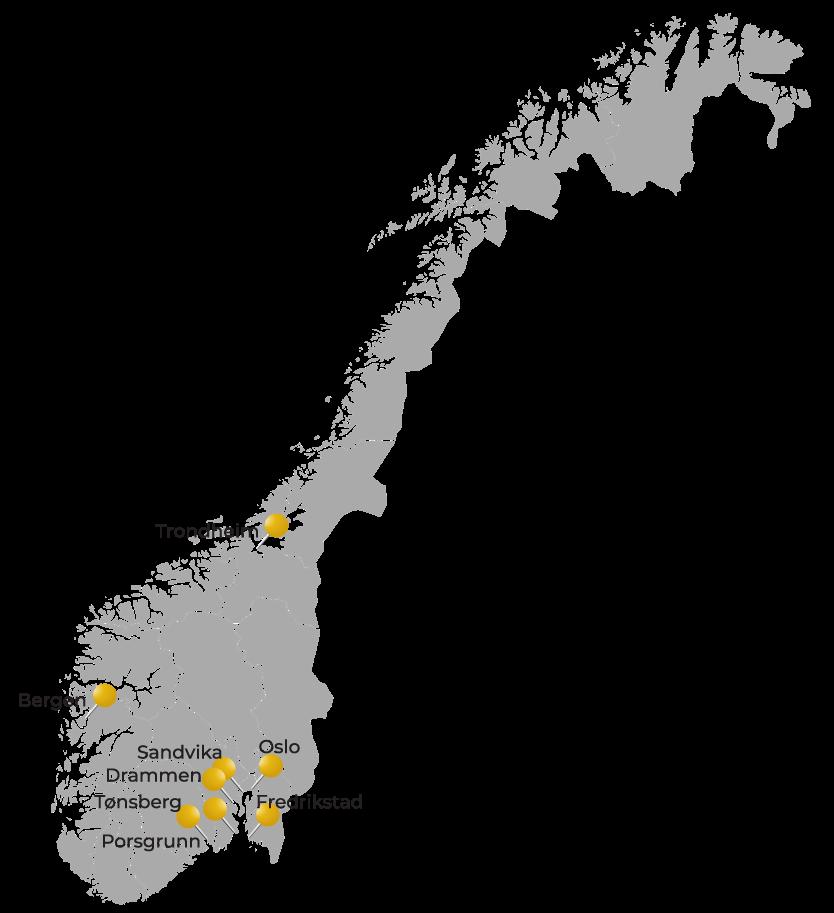 Norgeskart med oversikt over K2 lokasjoner
